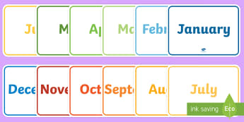 English Months of the Year A4 Display Poster Pack - english, months, year, months of the year, a4, display poster, display, poster, pack