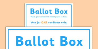 School Council Election Ballot Box Sign - school council, election, ballot, box, sign