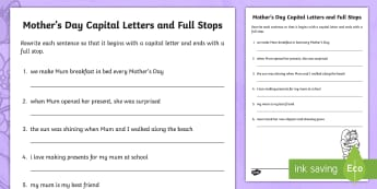 Mother's Day Capital Letters and Full Stops Activity Sheet - Mother's Day Australia, Foundation, Year 1, Year 2, Mother, Mum, Mothers, Punctuation, Capital Lett