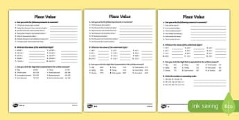 Place Value Worksheet (Differentiated) - Download and Print