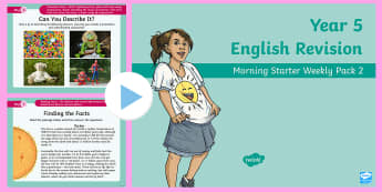 Year 5 English Revision Morning Starter Weekly PowerPoint Pack 2 - Y5, assessment, non-fiction, comprehension, facts, spelling, preposition, conjunction