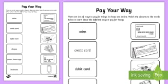 Pay Your Way Activity Sheet - NI KS1 Numeracy, money, pay, buy, payment methods, Worksheet