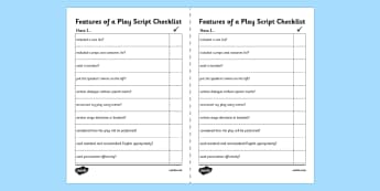 Features of a Play Script Writing Checklist - features, writing, checklist, script