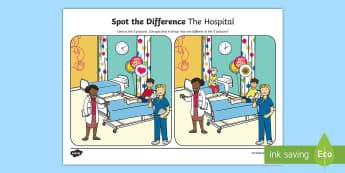 The Hospital Spot the Differences Activity Sheet - english, oral language, speech and language, hospital, worksheet, doctor, spot the differences,Irish
