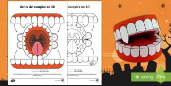 Travaux manuels : Dents de vampire 3D pour Halloween - temps fort, monstres, arts plastiques, cycle 1, cycle 2, cycle 3