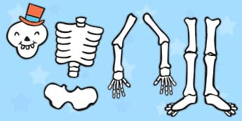 Make a Moving Skeleton Cutting Activity (Large) to Support Teaching on Funnybones - Funny Bones, Janet and Alan Ahlberg, story, story book, story book resources, story sequencing, story resources, skeleton, our body, all about me,