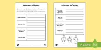 Behaviour Reflection Activity Sheet - behaviour, young people, calm, worry, anger, families, PSHCE, worksheet