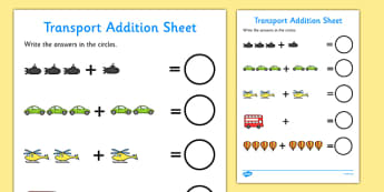 Transport Addition Sheet - transport, transport addition, transport addition worksheet, transport counting and addition, transport counting, transport numeracy