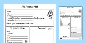All About Me Worksheet - all about me, worksheet, self registration, ourselves, ourselves worksheet, about me worksheet, writing template, writing aid