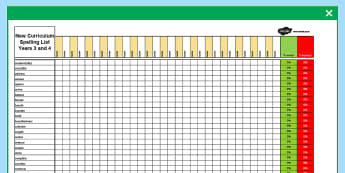 Year 3-4 Statutory Spelling Assessment Grid - assessment, grid