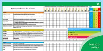 Digital Competence Framework Year 5 Assessment Tracker - DCF, Digital Competence, Year 5, Assessment Tracker,Dcf,Welsh