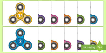 Counting in 3s on Fidget Spinners Cut-Outs - Counting in 3s on Fidget Spinners Cut-Outs - 3 x table, three times table,  maths, skip Years 1-3, c