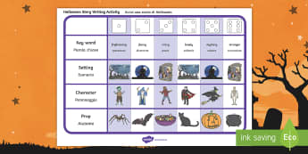 Halloween Story Writing Ideas Activity English/Italian - Halloween, october, festival, autumn, celebration, spooky, ghosts, witch, zombies, EAL