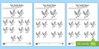 Two Turtle Doves Activity Sheets English/German - Christmas Maths, Addition, EAL, German, English-German,,German-translation