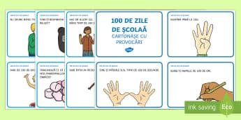 100 de Zile de Școală - Cartonașe cu provocări - 100 de zile de școală, română, matematică. jocuri, activități, provocări, Romanian