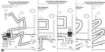 Rugby Pencil Control Path Worksheets Romanian Translation - romanian
