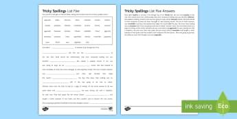 Twinkl Tricky Spellings List Five Cloze Differentiated Activity Sheet  - KS3 spelling, KS4 spelling, secondary spelling, Tricky spelling, spelling list KS3/4, Cloze