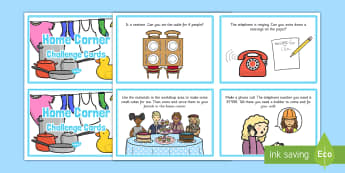 Home Corner Challenge Cards - Aistear, role play, Home Sweet Home, house, home, challenge, challange, homecorner