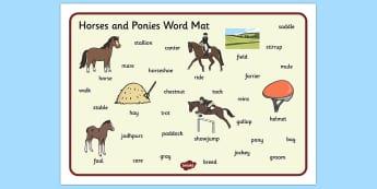 Horses and Ponies Word Mat - horses, ponies, word mat, word, mat