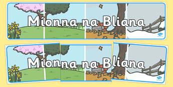Míonna na bliana Display Banner Gaeilge - gaeilge, display, banner, months