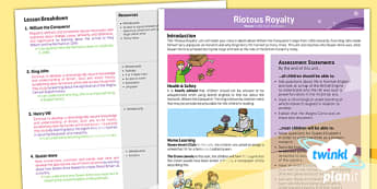 History: Riotous Royalty LKS2 Planning Overview
