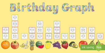 Birthday Graph Display Pack - new class, transition, welcoming, ks2, months of the year