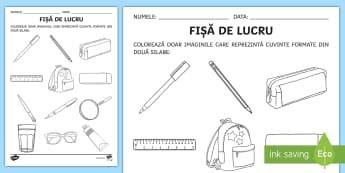 Colorează după numărul de silabe Fișă de lucru - clasa pregătitoare, silabe, colorează, cuvine, imagini, alfabet, despărțire în silabe,Romanian