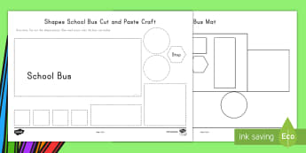 Shapes Bus Cut and Paste Activity - USA, Back to School, Beginning of School, First Day of School, Craft, transport, 2D shapes, 2d shape