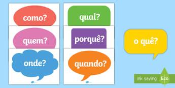 Perguntas em balões de fala - balões de fala, perguntas, vocabulário
