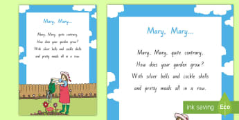 Mary Mary Quite Contrary Display Poster  - NZ Literacy Resources, nursery rhymes, Years 1-3, New Zealand, Aotearoa, poems, English, poetry, gar