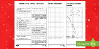 LKS2 Advent Calendar Coordinates Activity Sheet - LKS2, co-ordinates, maths, Christmas, Advent,