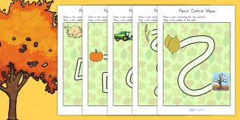 Autumn Themed Pencil Control Maze Worksheets - fine motor skills