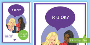 R U OK? (Text Message) A4 Display Poster - texting, messages, phone, shy, speak, SMS