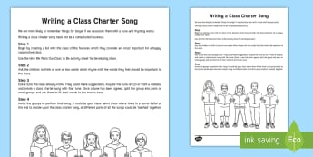 KS2 Writing a Class Charter Song Guide - rules, behaviour, writing a song, class charter, english