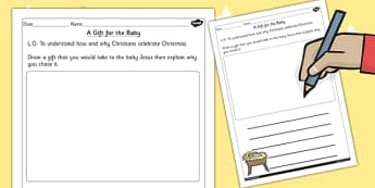 KS1 RE Christianity A Gift for the Baby Worksheet - worksheet
