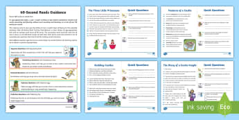 60-Second Reads: Castles Activity Cards - 90 Words A Minute, Ninety Words, Reading, Guidance, Year 2, Y2, One Minute Reading