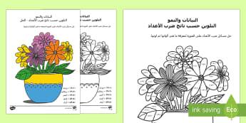 النباتات والنمو- التلوين حسب ناتج ضرب الأعداد - الضرب، ضرب الأعداد، التلوين حسب الأعداد، حساب، رياضيا
