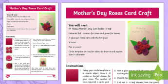 Mother's Day Roses Card Craft Instructions - CfE Mother's Day March 26th, roses, flowers, design, felt, craft, Scottish