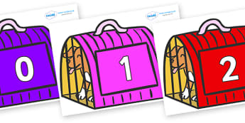 Numbers 0-100 on Puppies (Carrier) to Support Teaching on Dear Zoo - 0-100, foundation stage numeracy, Number recognition, Number flashcards, counting, number frieze, Display numbers, number posters