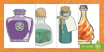 Editable Halloween Potion Bottles (A4) English/Portuguese - george's marvellous medicine, Editable Halloween Potion Bottles, potion, bottle, A4, display, poste