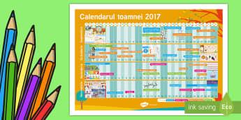 Calendarul toamnei 2017 - început de an școlar, toamna, septembrie, decorul clasei, evenimente importante ,Romanian