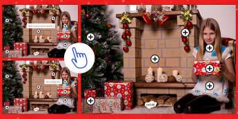 Christmas Questions Picture Hotspots French - Christmas, French, Noël, picture, description, questions, cheminée, cadeau, sapin, décoration,Fre