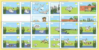 The Ugly Duckling Story Sequencing (4 per A4)-Spanish