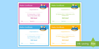 Maths 'Helping Others' Certificate - Rewards, Learning, Positive, Praise, Award, Certificate, Recognition, peer support