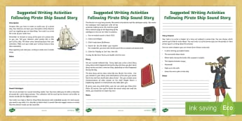 Pirate Ships Sound Story Summative Writing Activities Lesson Ideas - writing, assessment, pirate ships, sound story, sound stories, diary, story, descriptive, writing, a