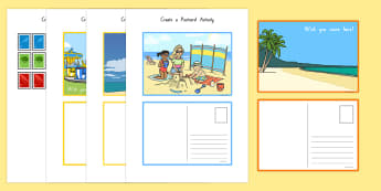 Create a Postcard Activity - nz, new zealand, Postcard, Postcard design, Seaside, fine motor skills, holidays, holiday, water, tide, waves, sand, beach, sea, sun, holiday, coast