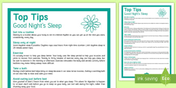 Top Tips for a Good Night's Sleep - KS3/4 Pastoral Support Material, sleep, revision, healthy living, exercise, how to, top tips.