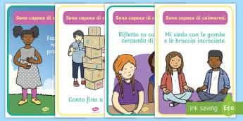 Sono capace di calmarmi Poster - comportamento, in, classe, supporto, sostegno, calmo, calmare, italiano, italian, poster, materiale,