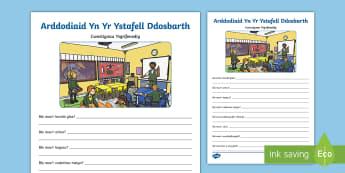 Arddodiaid Yn Yr Ystafell Ddosbarth - Cwestiynau Ysgrifenedig - Arddodiaid, Lleoliadol, Llythrennedd, Taflen Waith, Prepositions, Literacy, Worksheet,Welsh-translat