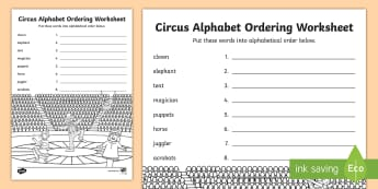 Circus Alphabet Ordering Worksheet - a-z, a-z order, order, sort